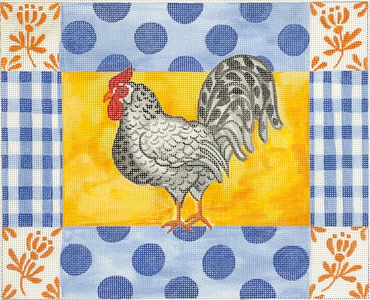 KDN/KRPL13 Rooster w Blue Poka Dots, Gingham & Orange