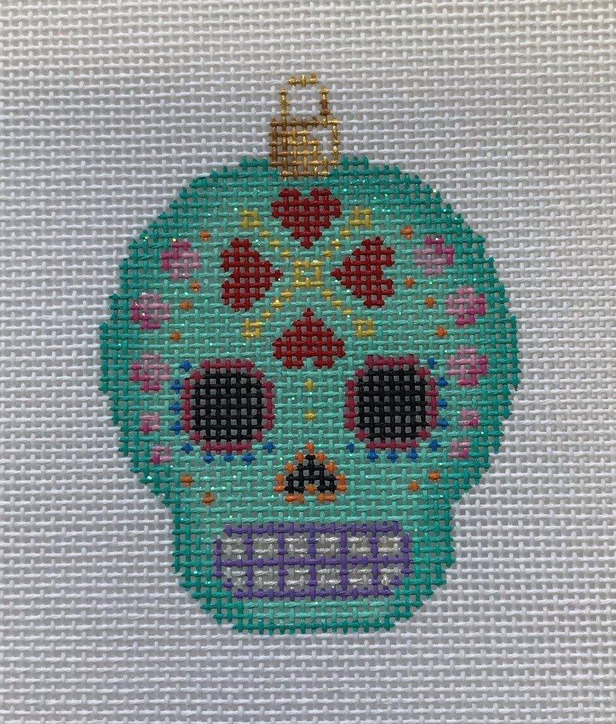AT/EE1453 Sugar Skull Ornament - Aqua