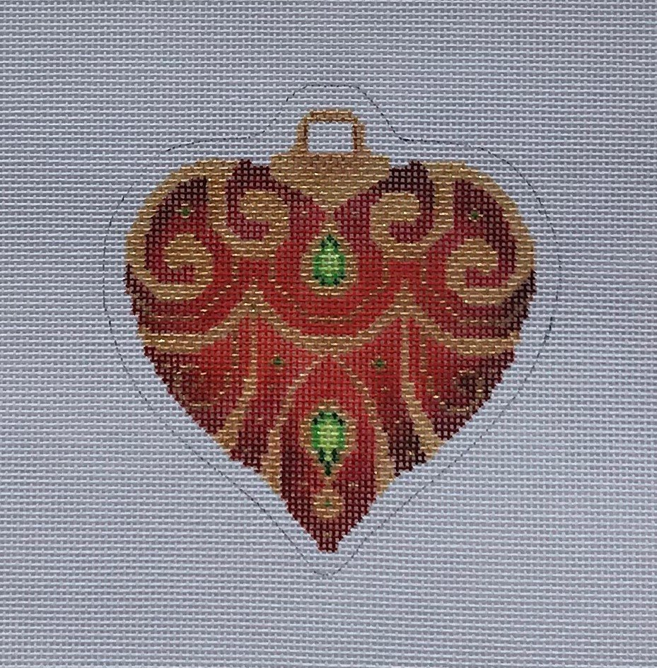 KB/BB1385 Red & Gold Heart Ornament