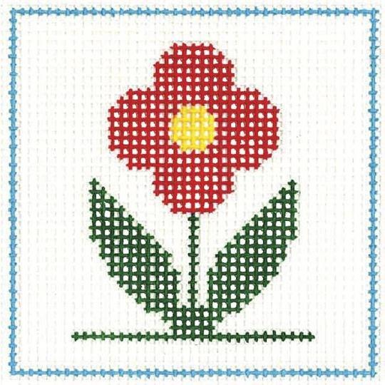 CN/A2 Red Flower Beginner Needlepoint Kit for Ages 7+