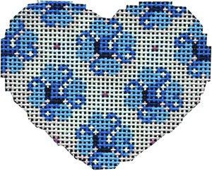 AT/HE676B Blue Flowers Mini Heart