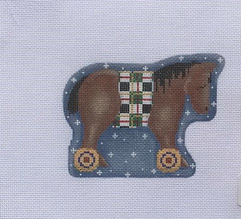 AT/CT2069 Bay Horse on Wheels Ornament