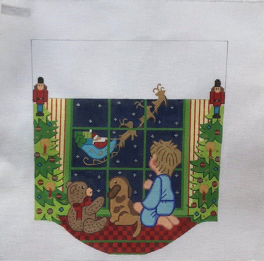 ALEXA/SCF156 Boy in Window w Santa Flying By