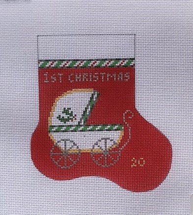 JULIA/O67 1st Christmas w Baby Carriage Mini Stocking