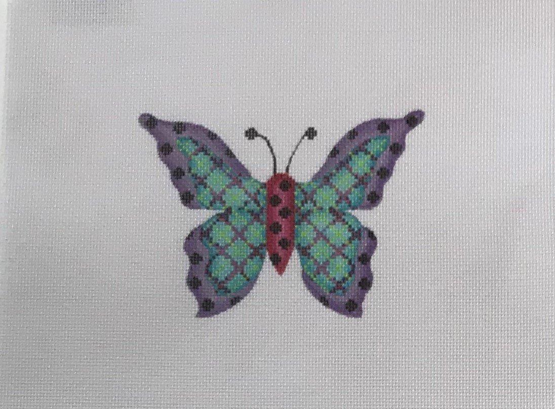 BB/3151 Butterfly - Blue Plaid w Purple Edges & Black Dots