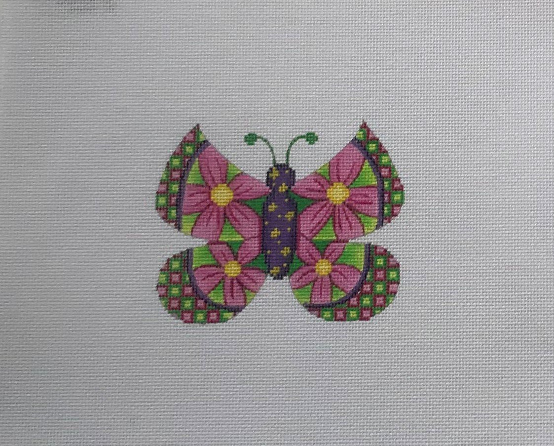 BB/3152 Butterfly - Large Pink Flowers w Green & Pink Checkered Edges