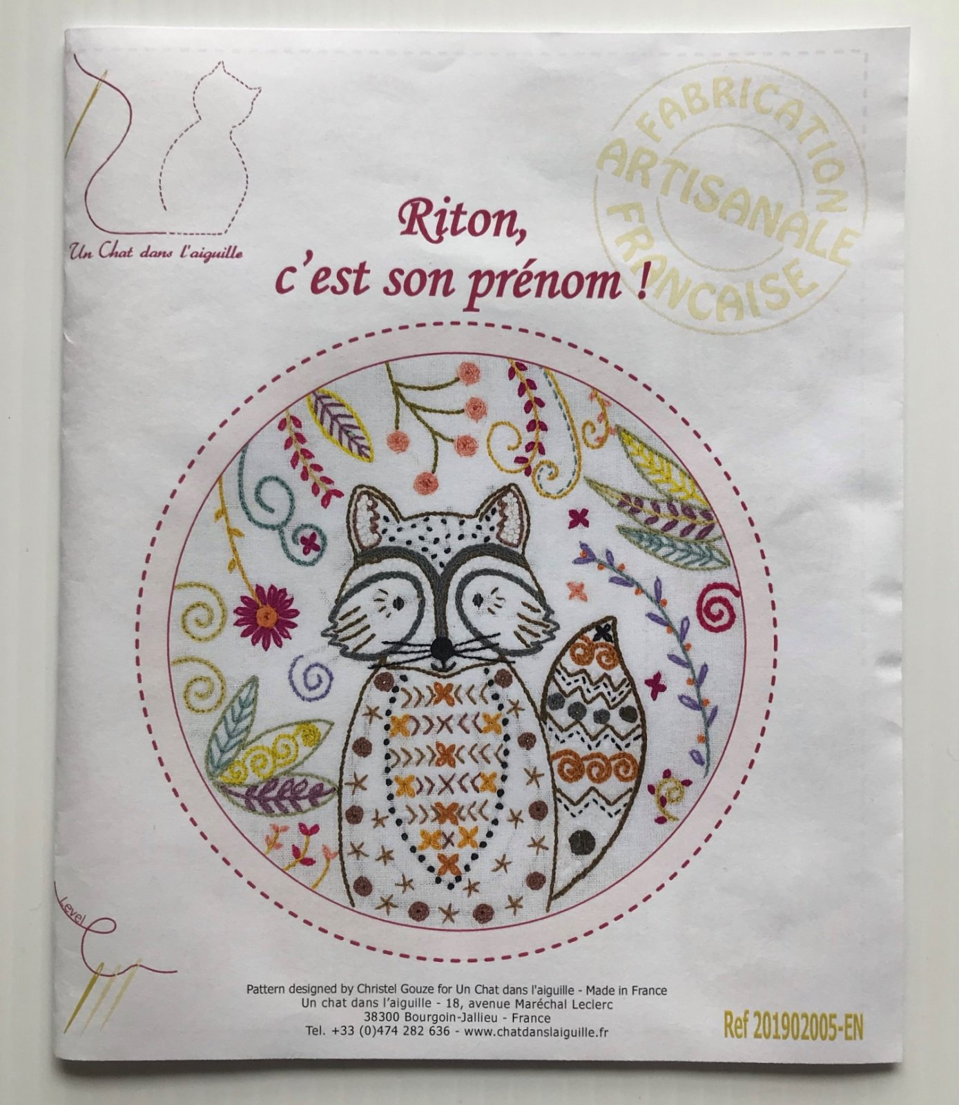 Un Chat Riton is his First Name Embroidery Kit