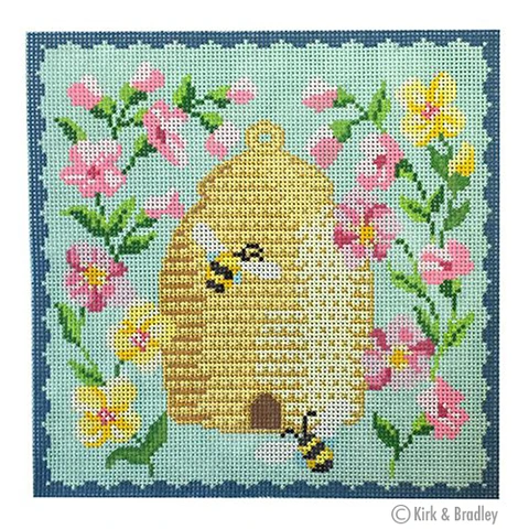 KB/1518 Bee Skep - Pink Flowers