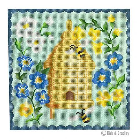 KB/1519 Bee Skep - Blue Flowers