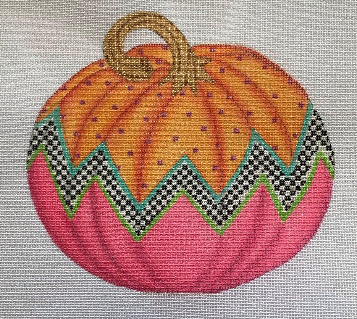 KDN/SST264 Funky Punkin #9 Orange Top/Checkerboard Zigzag, Watermelon Bottom