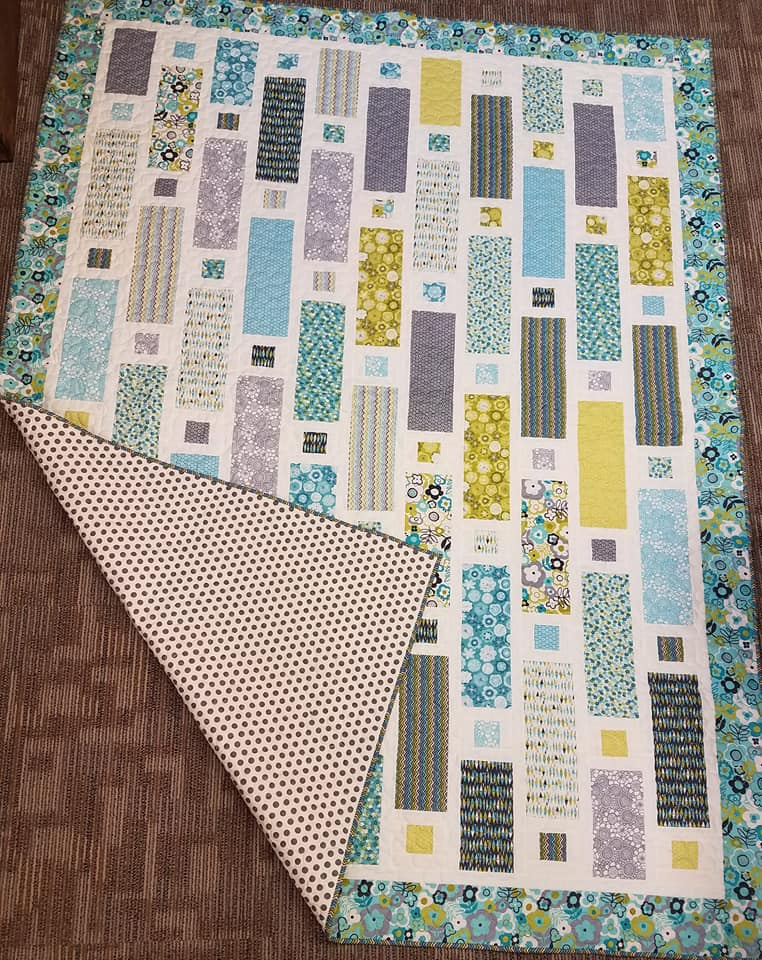 Button Holes In Teal- Finished Quilt