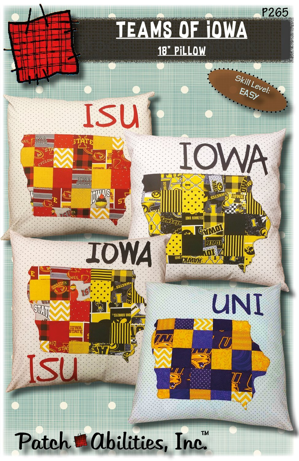 Teams of Iowa Pillow pattern- 265