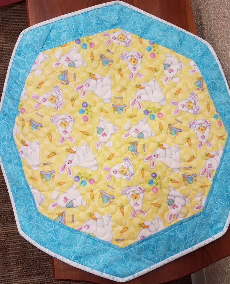 Little Bunny- Fun Focus Table Topper (teal/yellow)