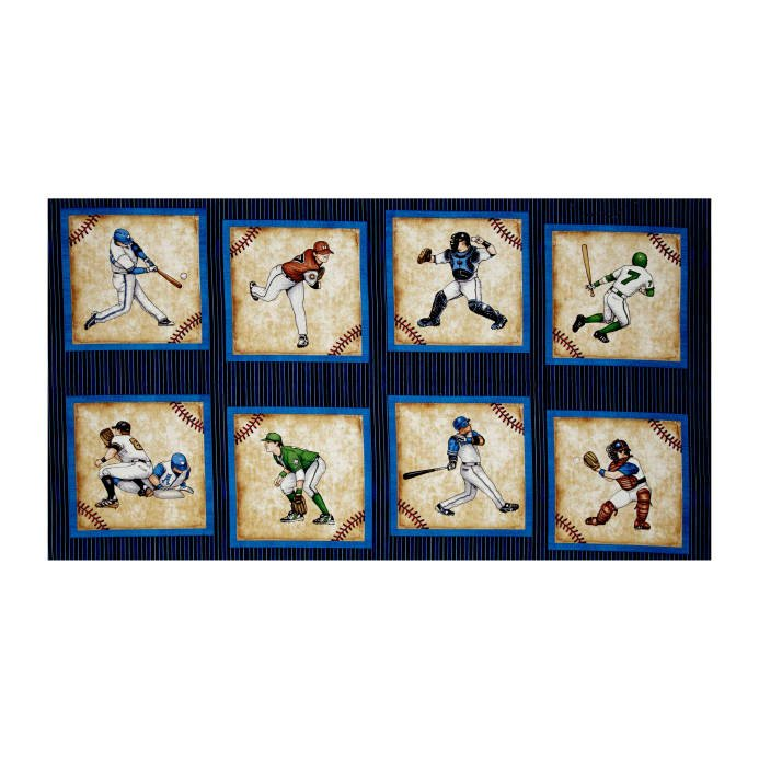 Grand Slam Baseball Player Picture 24 Patches Panel Navy Fabric