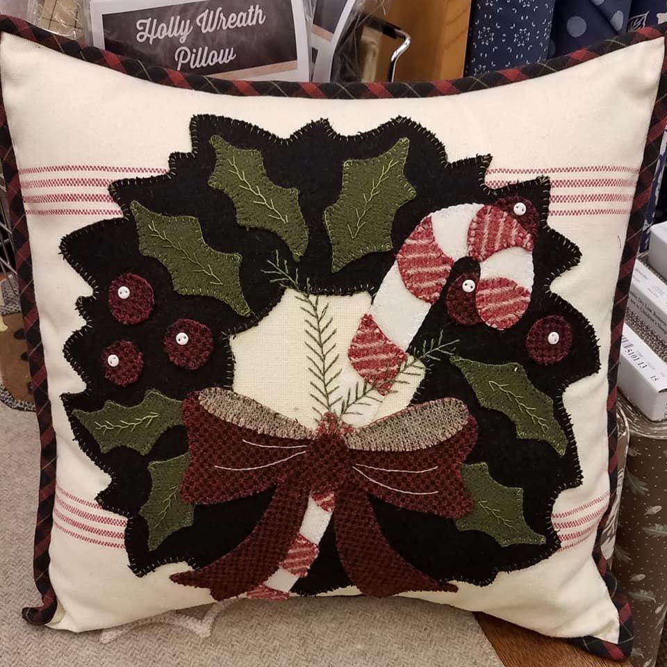 Buttermilk Basin Holly Wreath Pillow