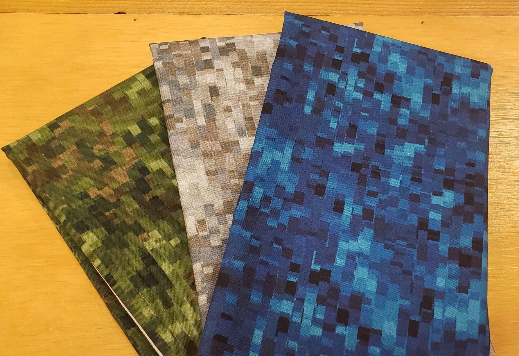 3 Half Yard Cuts- Minecraft-like Fabric Bundle (blue,grey,dark green)