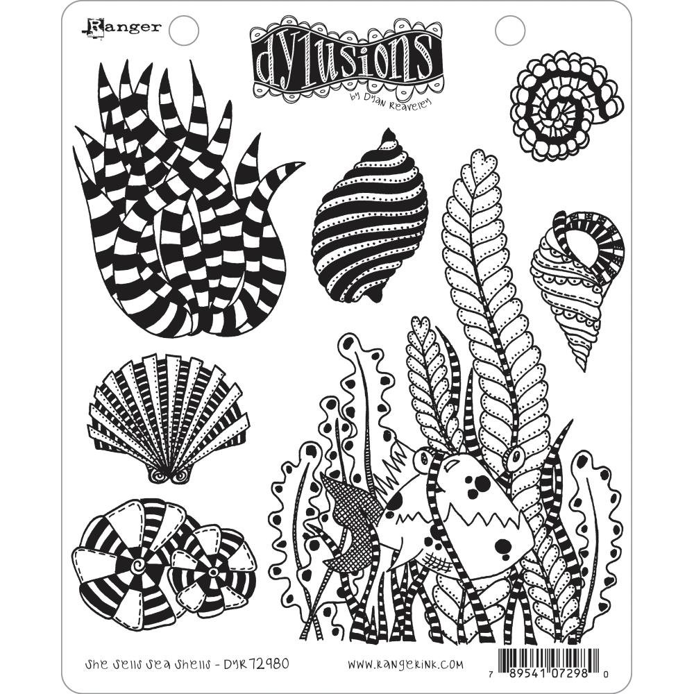 Dyan Reaveley's Dylusions Cling Stamp Collections 8.5X7 She Sells Sea Shells