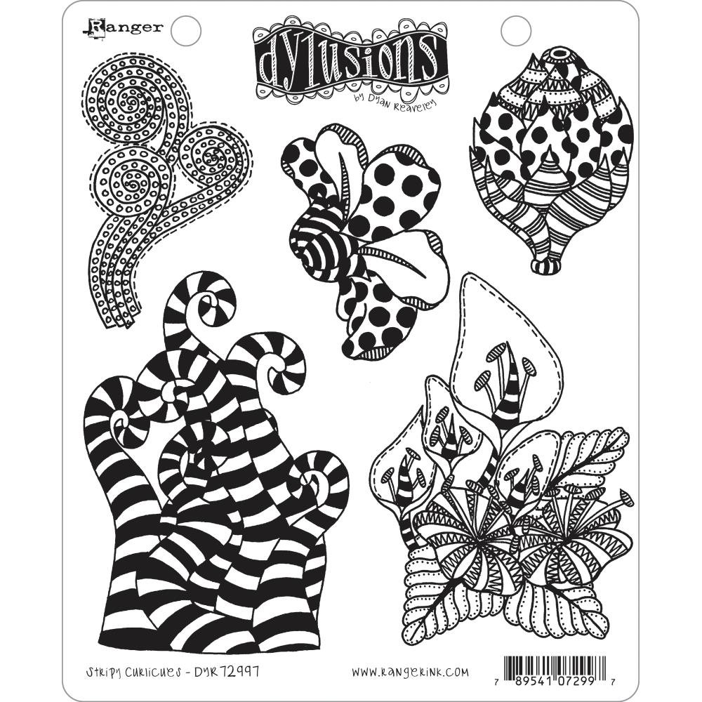 Dyan Reaveley's Dylusions Cling Stamp Collections 8.5X7 Stripy Curlicues