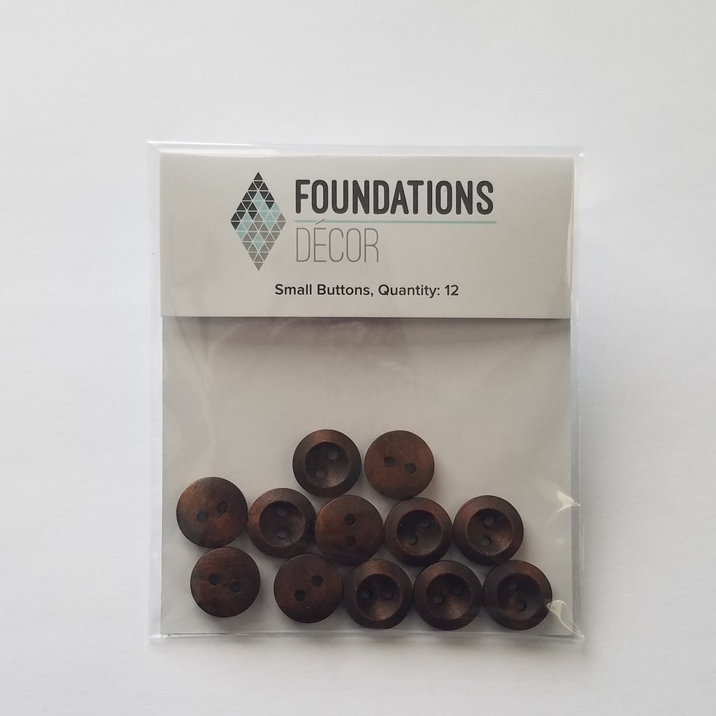 FOUNDATIONS: Buttons - Brown, 12 Small