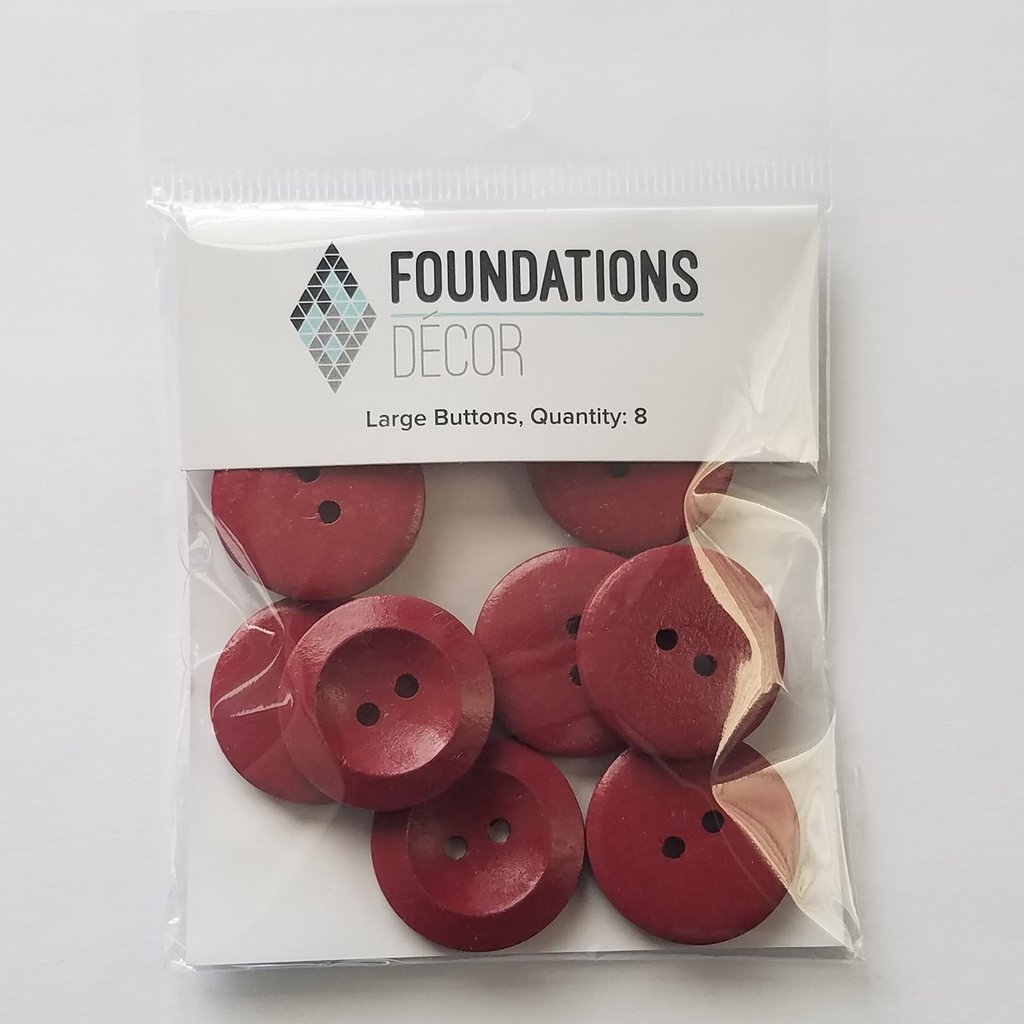 FOUNDATIONS: Buttons - Red, 8 Large