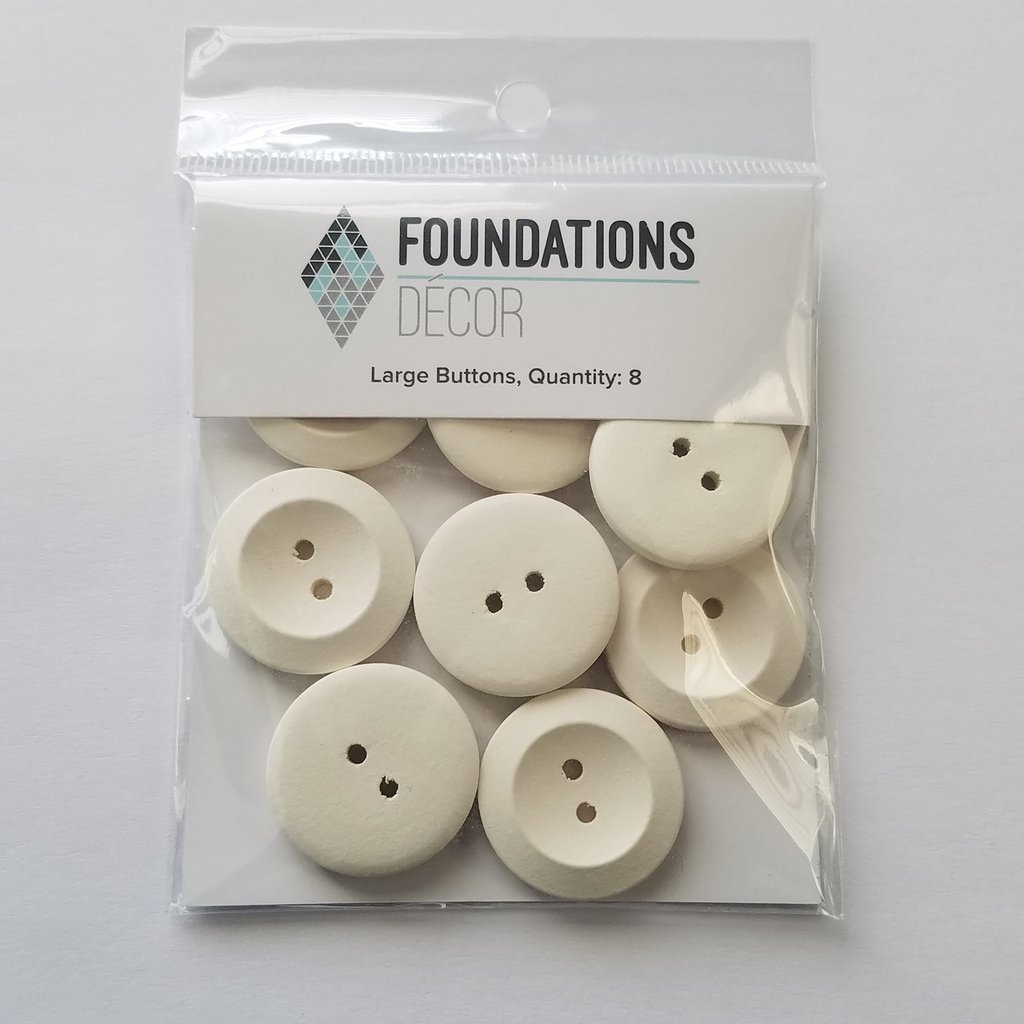 FOUNDATIONS: Buttons - Off White, 8 Large