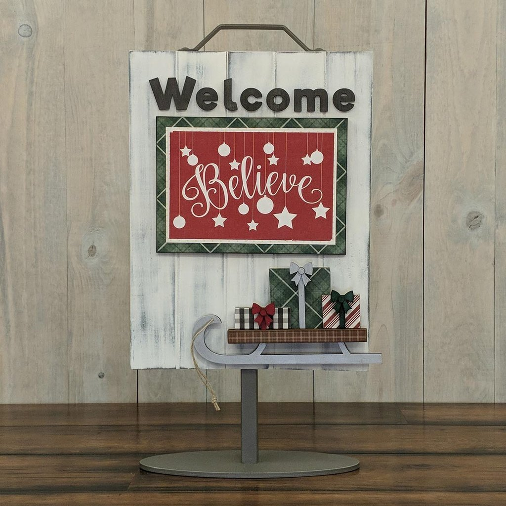 Foundations Decor Welcome Sign Kits Sled W/ Presents