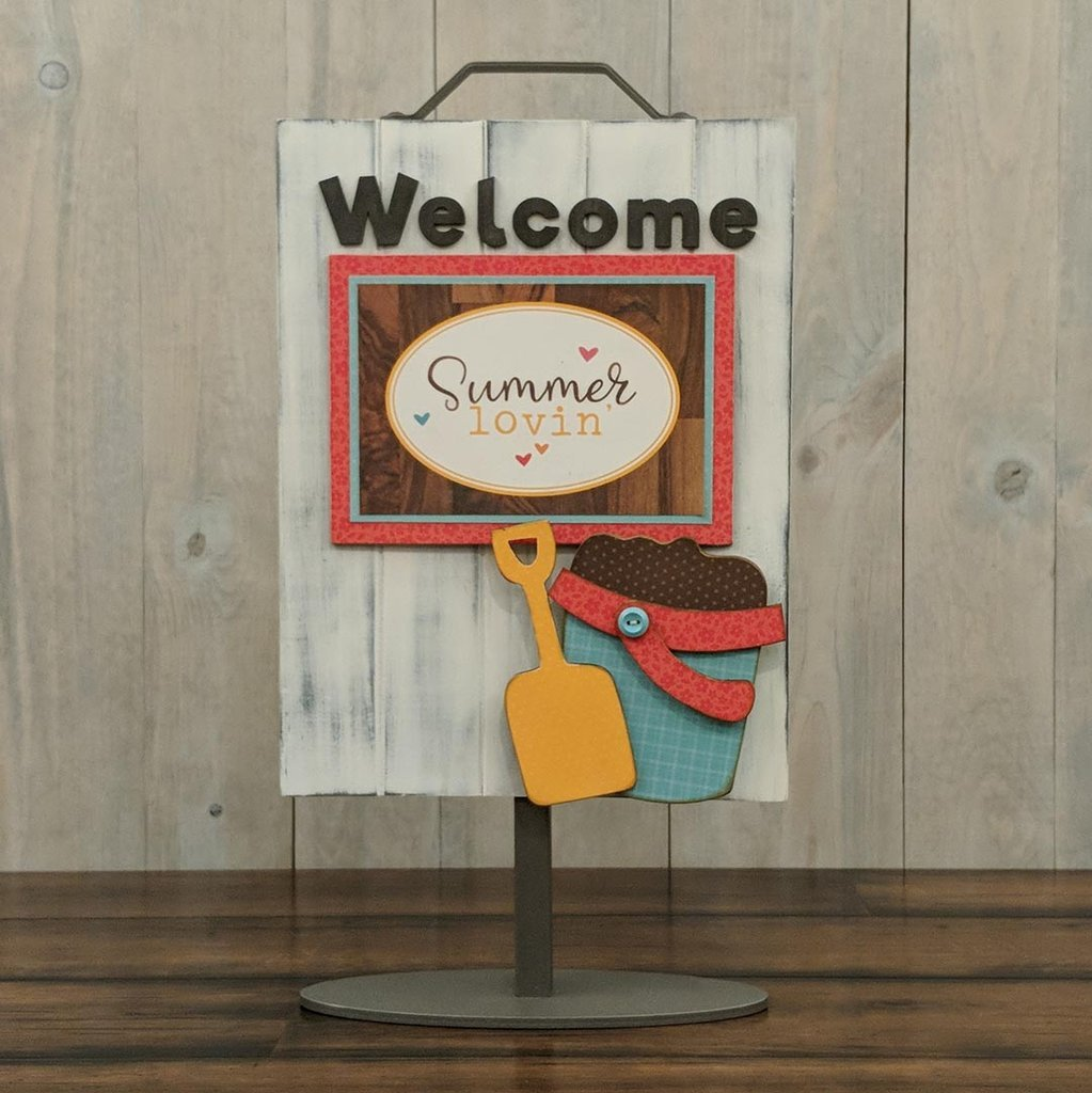 Foundations Decor Welcome Sign Kits August - Sand Pail/Shovel