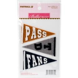 BB Football Self-Adhesive Felt Pennants 3/Pkg Throw, Catch, Tackle