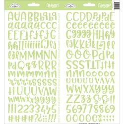 Doodlebug Abigail Font Alpha Cardstock Stickers 6X13 2/Pkg Limeade