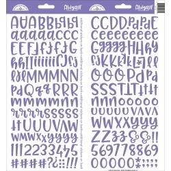 Doodlebug Abigail Font Alpha Cardstock Stickers 6X13 2/Pkg Lilac