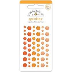 Doodlebug Sprinkles Adhesive Glitter Enamel Dots 54/Pkg Tangerine