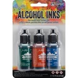 Tim Holtz Alcohol Ink .5oz 3/Pkg Rustic Lodge-Bottle/Terra-Cotta/Denim