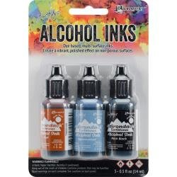 Tim Holtz Alcohol Ink .5oz 3/Pkg Miners Lantern-Rust/Stonewash/Pitch Blk
