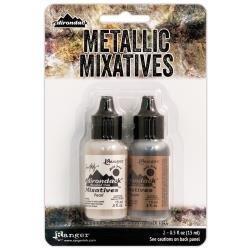 Tim Holtz Alcohol Ink Metallic Mixatives .5oz 2/Pkg Pearl & Copper