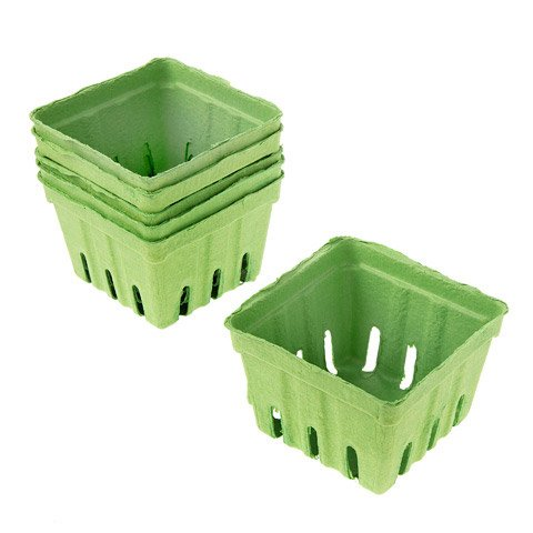 Darice Green Paper Berry Baskets: 3.5 x 3.5 inches, 1 piece