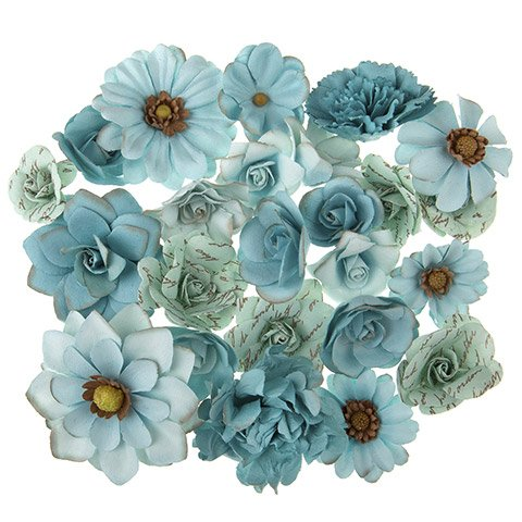 Darice Mulberry Print Floral Embellishment: Blue, 24 pieces