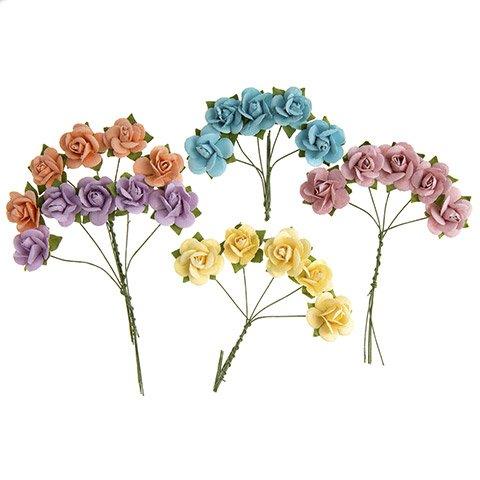 Darice Mini Sachet Roses Floral Embellishment: Pastel, 0.75in, 25pk