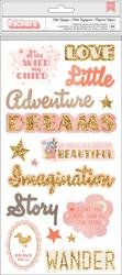 Pink Paislee LIttle Adventurer Girl Phrase & Icons/Chipboard Thickers 5.5X11 34/PKG