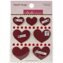 BB Legacy Heart Hugs Embellishments 7/Pkg Wild Berry