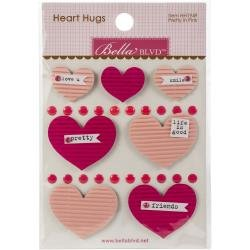 Bella Blvd Legacy Heart Hugs Embellishments 7/Pkg Pretty In Pink