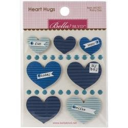 BB Legacy Heart Hugs Embellishments 7/Pkg Rainy Day