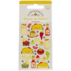 Doodlebug Sprinkles Adhesive Glossy Enamel Shapes Taco-Bout Fun, 35/Pkg
