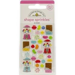 Doodlebug Sprinkles Adhesive Glossy Enamel Shapes So Sweet, 30/Pkg