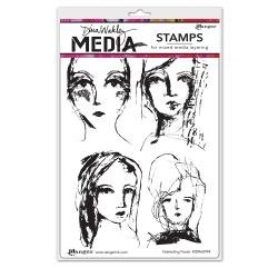 Dina Wakley Media Cling Stamps 6X9 Interesting Faces