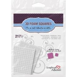 Scrapbook Adhesives 3D Foam Squares Variety Pack 217/Pkg White (63) .5X.5, (154) .25X.25