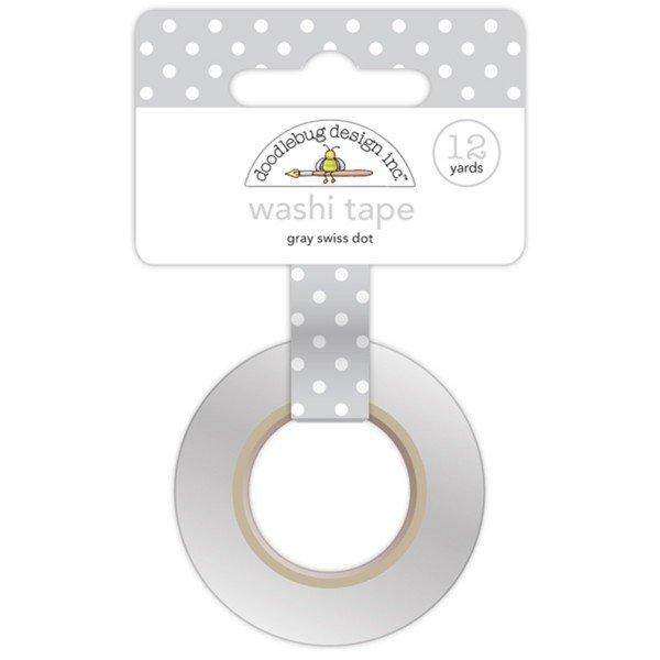 Doodlebug Washi Tape 15mmX12yd Grey Swiss Dot