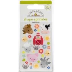 Doodlebug Sprinkles Adhesive Glossy Enamel Shapes Farm Friends, 31/Pkg