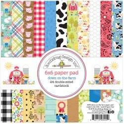 Doodlebug Double-Sided Paper Pad 6X6 24/Pkg Down On The Farm, 12 Designs/2 Each