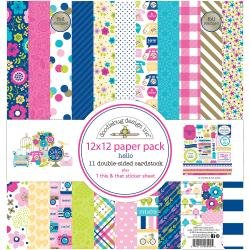 Doodlebug Double-Sided Paper Pack 12X12 12/Pkg Hello