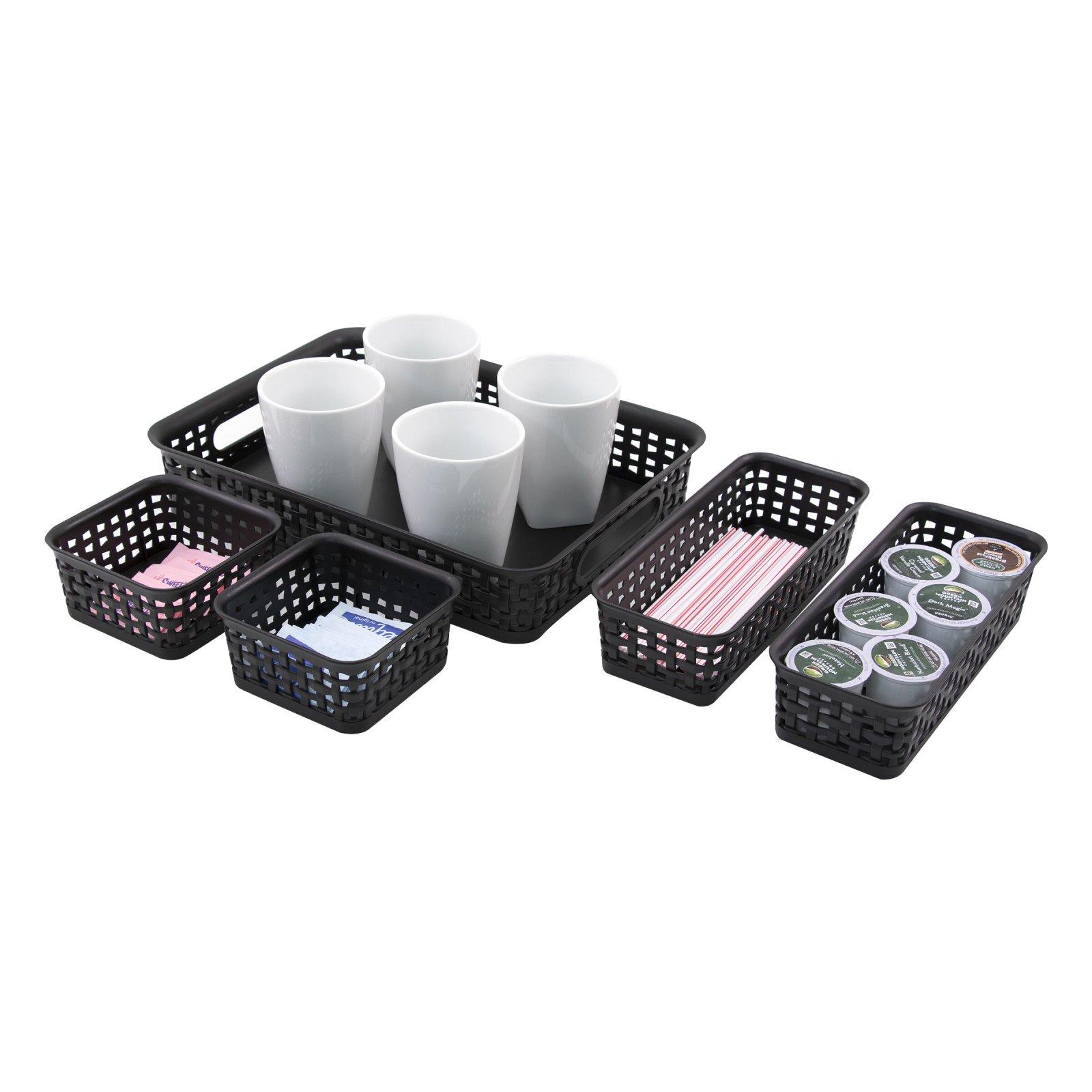 Storage Studios Black Plastic Weave Bins 5 pk